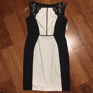 NWT Connected Petite Black and White Dress